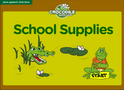 School Supplies ESL Interactive Vocabulary Crocodile Board Game