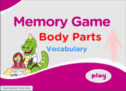 Body Parts ESL Vocabulary Memory Game