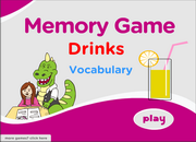 Drinks Vocabulary Memory Game for ESL Learning and Teaching