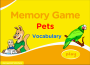 Pets Vocabulary ESL Memory Game, Dog, Cat