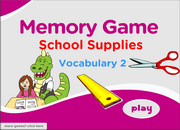 School Supplies 2, Stationery Vocabulary ESL Memory Game – Beginners