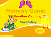 Weather Clothes Vocabulary Memory Game for ESL