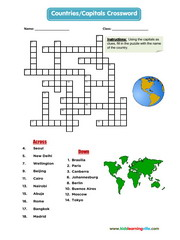 Countries capitals crossword