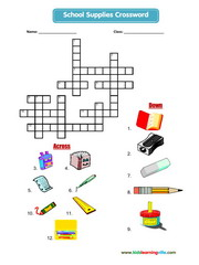 School supplies crossword