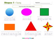 Shapes tracing coloring 1