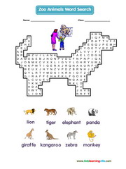 Zoo Animals Wordsearch