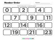 Numbers order 0 to 23
