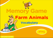 Farm Domestic Animals Vocabulary ESL Memory Game