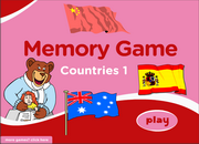 Countries ESL Vocabulary Memory Game with Flags – Low