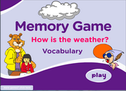 Weather Vocabulary ESL Memory Game for Beginners