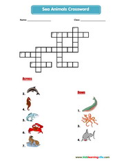 Sea animals crossword