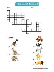 Zoo animals crossword