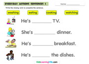Daily actions sentences 1