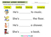 Daily actions sentences 2