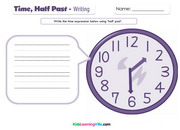 Time half past writing
