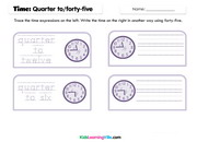 Time quarter to forty five write trace