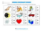 Ending consonant sounds activitya