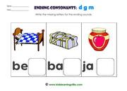 Ending consonants d g m